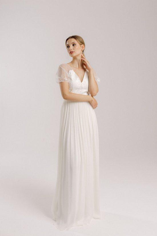 Vintage Brautkleid mit V-Ausschnitt: Alice